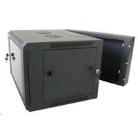 """XtendLan 19"""" dvoudílný nástěnný rozvaděč 12U, šířka 600mm, hloubka 550mm, skleněné dveře-kouřové sklo,nosnost 60kg,černý"""