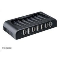 AKASA HUB USB Connect 7+, 7x USB 2.0, s napájecím adaptérem