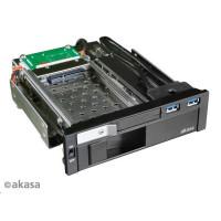 "AKASA HDD box Lokstor M51, 3,5"" a 2,5"" SATA HDD do 5,25"" interní pozice, USB 3.0, černý"