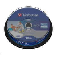 VERBATIM BD-R SL Datalife (10-pack)Blu-Ray/Spindle/6x/25GB Wide Printable