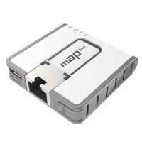 MikroTik RouterBOARD mAP lite, 650MHz CPU, 64MB RAM, 1x LAN, 2.4GHz Wi-Fi, 802.11b/g/n, vč. L4 licence