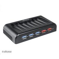 AKASA HUB USB Connect 7EX, 7x USB 3.0, 2 nabíjecí porty USB, s napájecím adaptérem