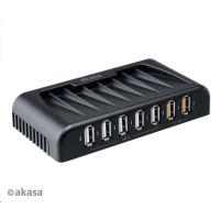 AKASA HUB USB Connect 7FC, 5x USB 2.0, 2 nabíjecí porty USB, s napájecím adaptérem