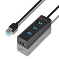 AXAGON HUE-S2BL 4x USB3.0 CHARGING hub 1.2m cable, microUSB nap. konektor