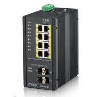 Zyxel RGS200-12P 12-port Gigabit WebManaged PoE switch, 8x GbE + 4x SFP, PoE budget 240W, DIN rail/Walll mount, IP30