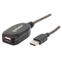MANHATTAN Kabel USB 2.0 A-A, aktivní prodlužovací 5m, Daisy-Chainable, Blister