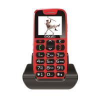 EVOLVEO EasyPhone, mobilní telefon pro seniory s nabíjecím stojánkem (červená barva)