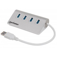 MANHATTAN USB 3.0 Hub, 4 Ports, Bus Power, Aluminum Housing