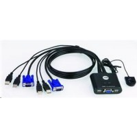 ATEN 2-port KVM USB mini, 1m kabely, DO