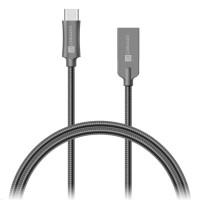 CONNECT IT Wirez Steel Knight USB-C (Type C) - USB-A, metallic anthracite, 1 m