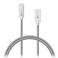 CONNECT IT Wirez Steel Knight USB-C (Type C) - USB-A, metallic silver, 1 m